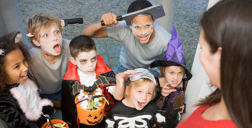 Image of a group of children trick-or-treating