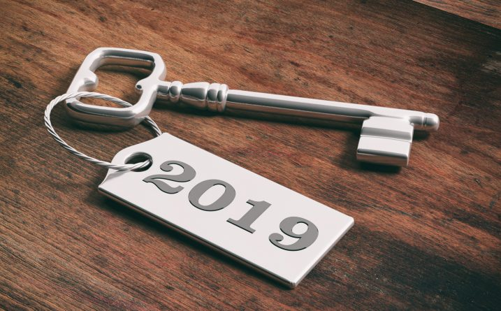 An image of a key with a 2019 keyring