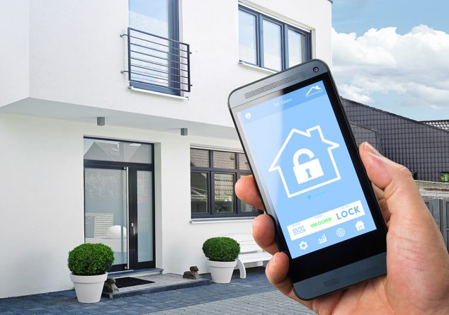 An image of a phone screen showing it can be used as a lock system for a house