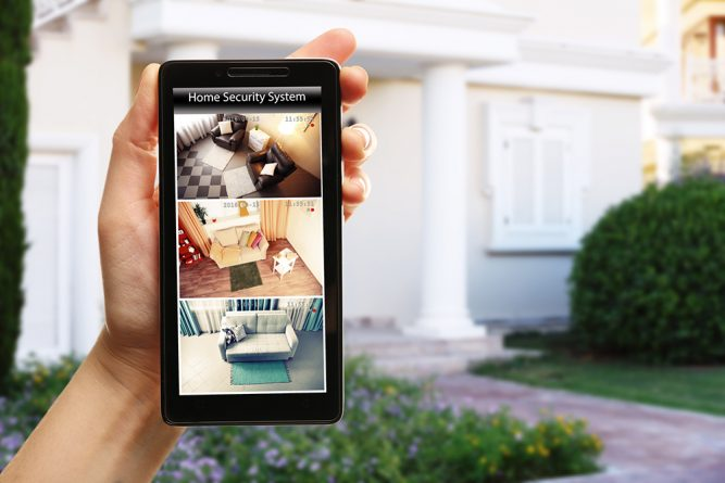 An image of a phone screen displaying the use of a home security system